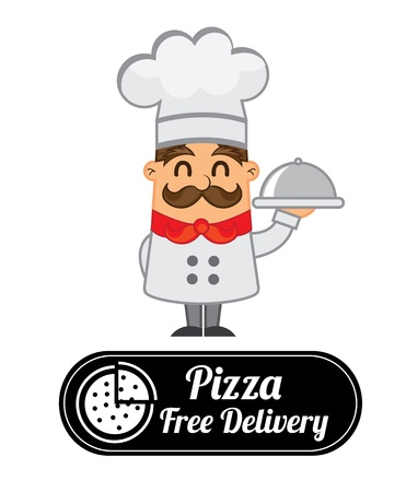 pizza label over gray background Vector