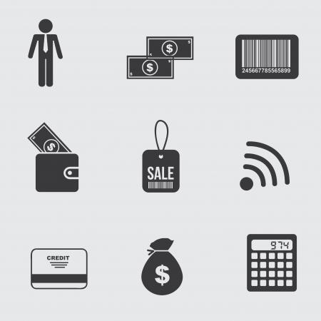conection: iconos de negocios sobre fondo gris Vectores