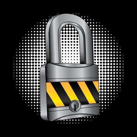 guard duty: padlock design over black background