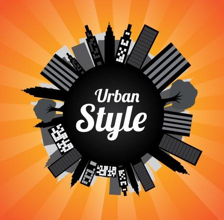 urban style: Urban style  over orange background