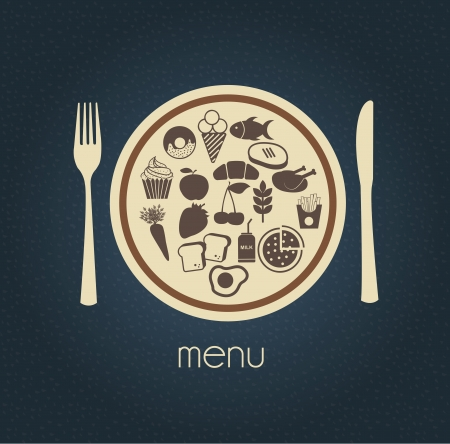 Menu icons over blue background  Vector