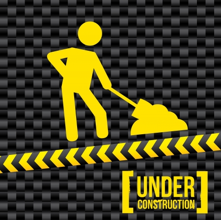 under construction over black background.  Stock Vector - 20702159