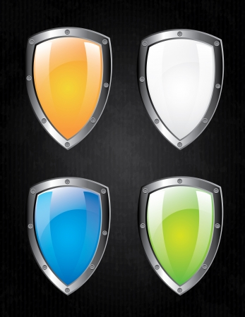 shields design over black background  Vector