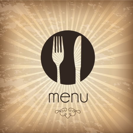 Menu icons over vintage background  Vector
