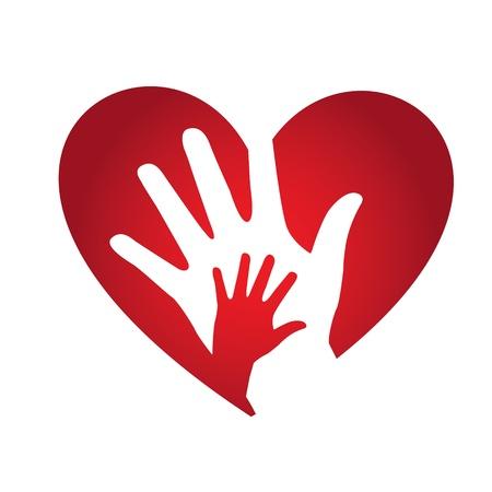 juntos: diseño del corazón sobre fondo blanco