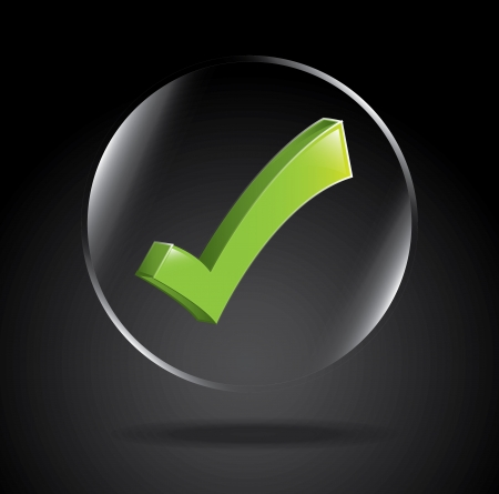 qualify: approval icon over black background