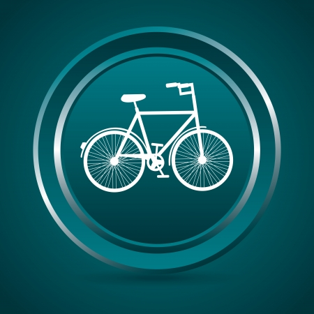 bicycle button over blue background Stock Vector - 20689317