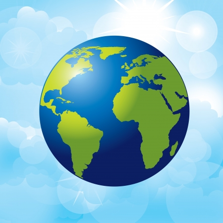 planet earth over sky background   Vector