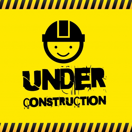 alert ribbon: under construction over yellow background  Illustration