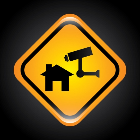 security system signal over black background.  Illustration