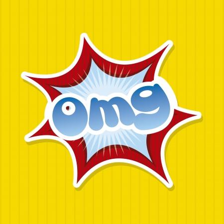 omg comics icon over yellow background Vector
