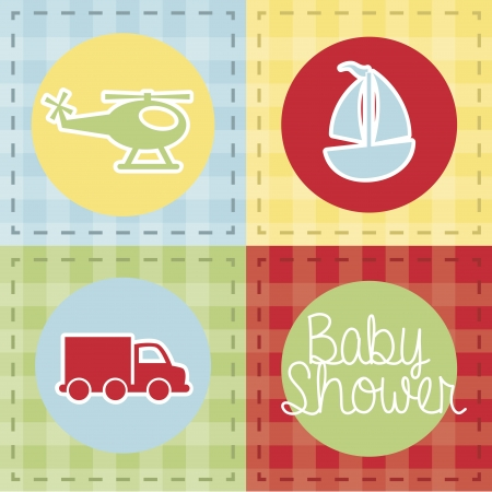 transport baby shower over grid background Vector