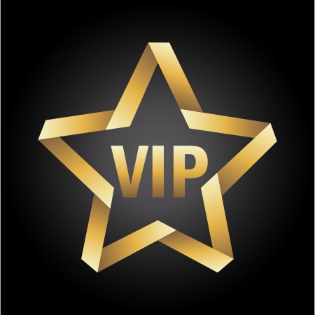 vip star icon over black background  Vector