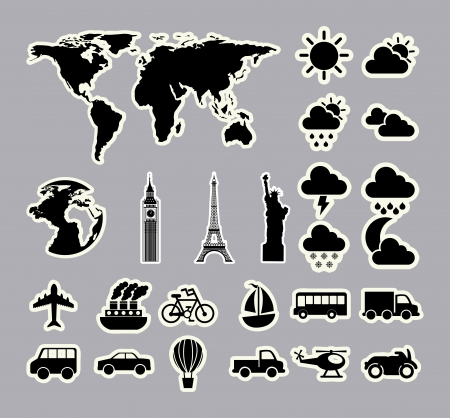 travel icons over gray background  Vector