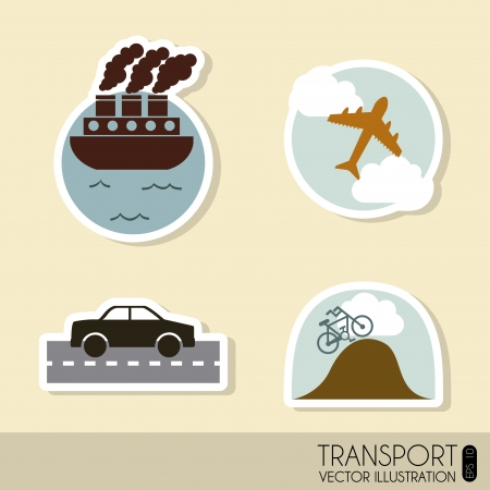 transports icons over cream background  Vector