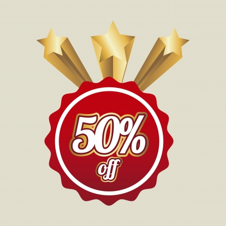 fifty percent off over beige background  Vector