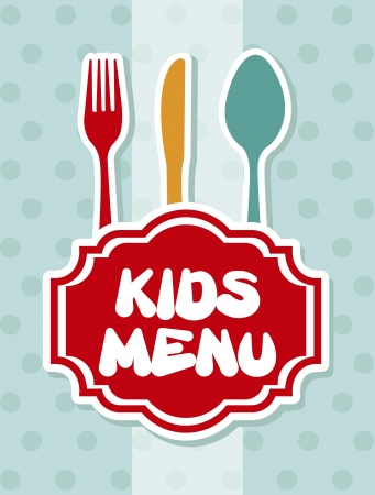 kids eat: men� infantil sobre fondo azul Vectores