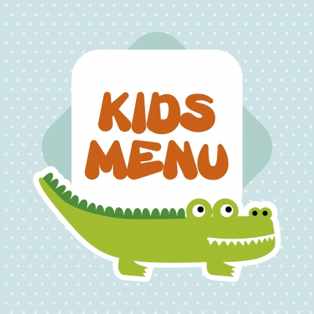 kids menu over dotted background  Ilustração