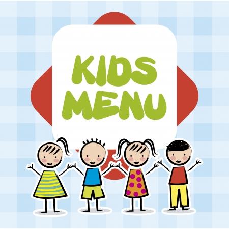 kids menu over tablecloths background Vetores