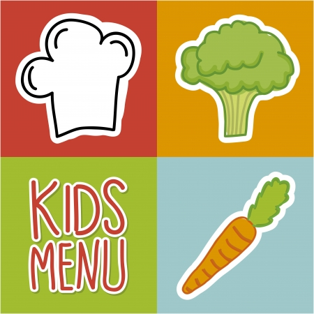 little chef: kids menu over colorful background  Illustration