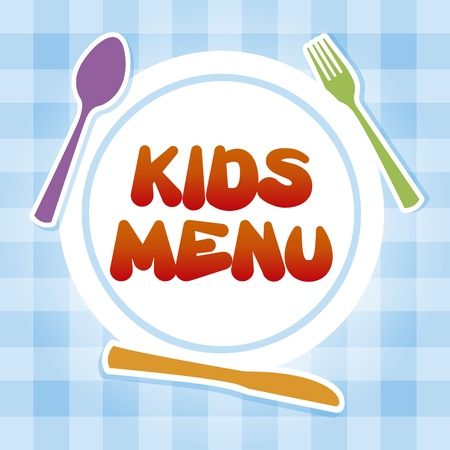 spoon and fork: kids menu over tablecloth background  Illustration