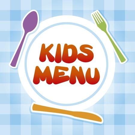 kid eat: men� infantil sobre fondo mantel