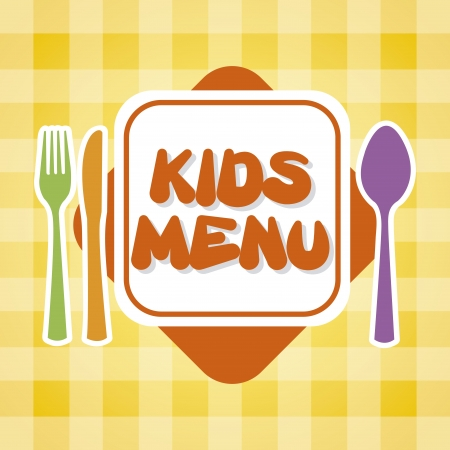 baby cutlery: kids menu over tablecloth background  Illustration