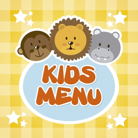 childrens meal: kids menu over tablecloth background  Illustration