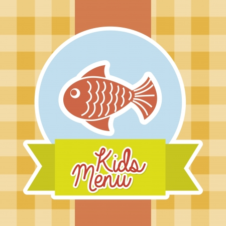 kids menu over tablecloth background  Vector