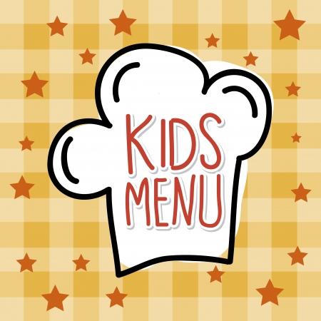 little girl eating: kids menu over tablecloth background  Illustration