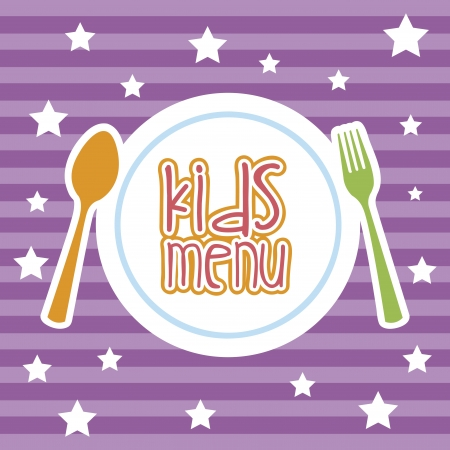 kids eat: men� infantil sobre fondo morado