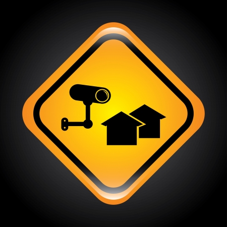 guard house: security system signal over black background.  Illustration