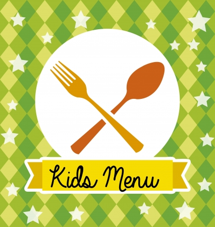baby cutlery: kids menu over green background