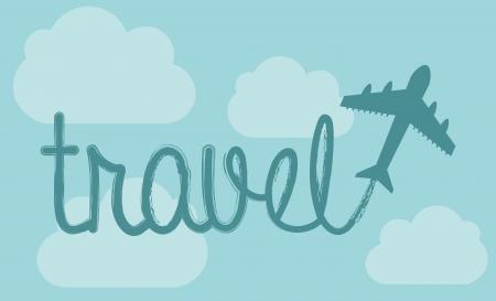 airplain: travel design over sky background  Illustration