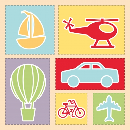 transports icons over pink background  Vector