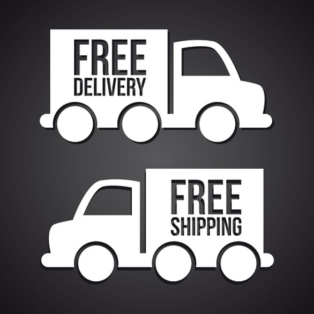 truck transports over black background  Vector