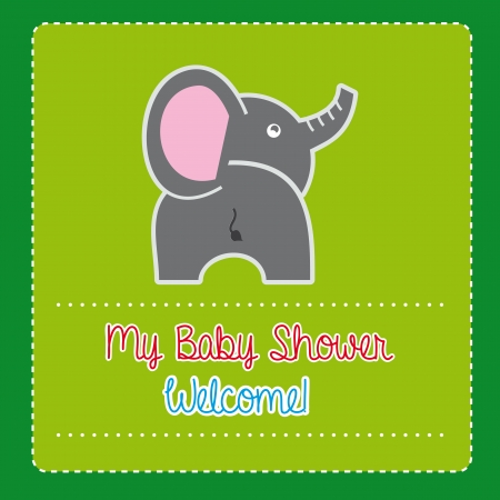 baby shower over green background  Vector