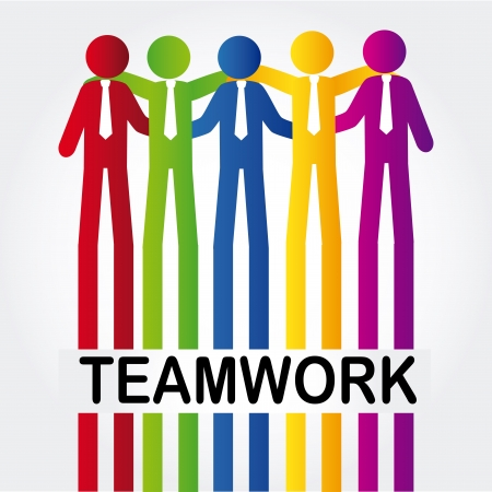 teamwork design over gray background  Vector