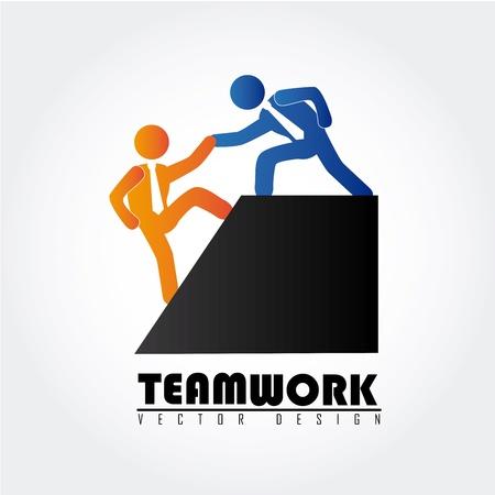 team work over gray background  Ilustração