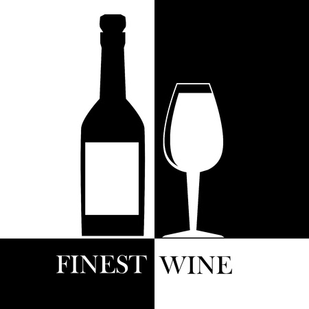 finest: finest wine over black and white background