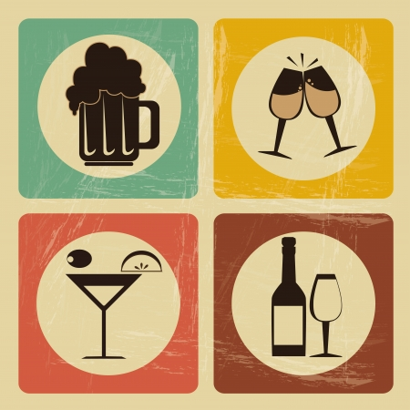 toasting wine: drinks icons over vintage background