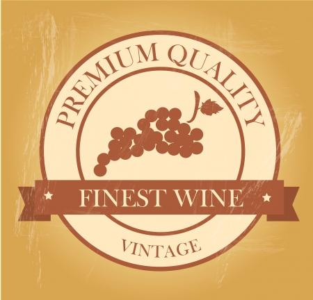 finest: finest wine seal over vintage background
