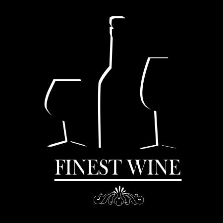 finest: finest wine over black background  Illustration