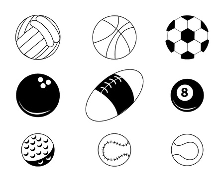 sports balls over white background  Vector