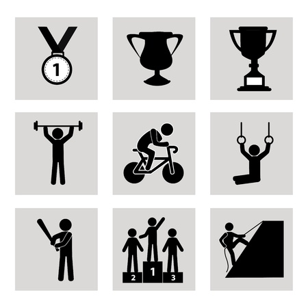 clipart podium: games icons over white background