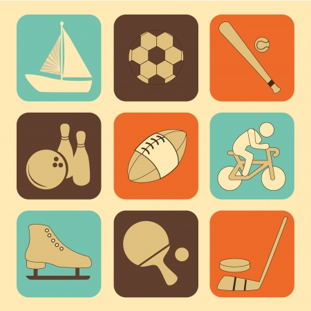 sports icons over cream background Vector