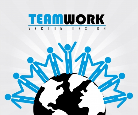 team work over gray background Vector