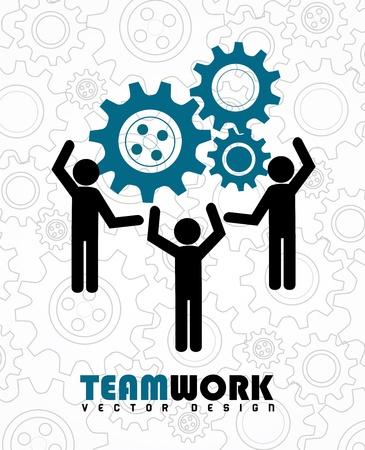 team work over gears background  Ilustração