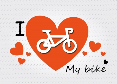 i love my bike over dotted background Stock Vector - 20702717