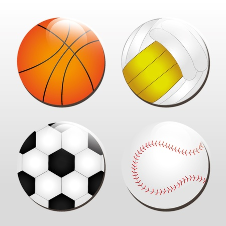 sports balls over gray background  Vector